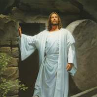 The Savior emerging from the tomb on resurrection morning