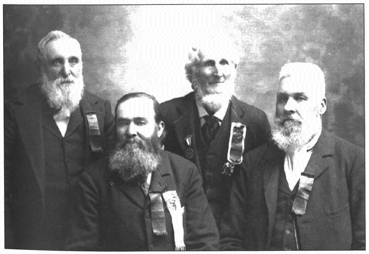 Gold discoverers (from left to right): Henry W. Bigler, William J. Johnston, Azariah Smith, and James S. Brown at 1898 jubilee