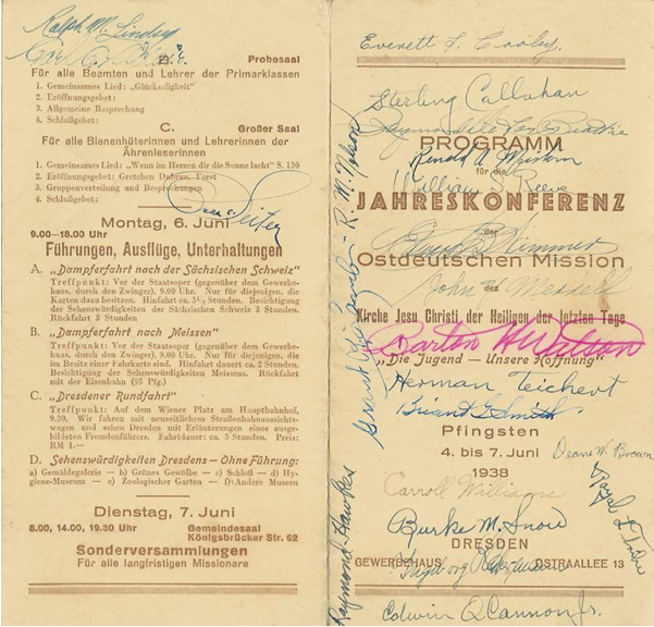 Program of Dresden mission conference with signatures written on it