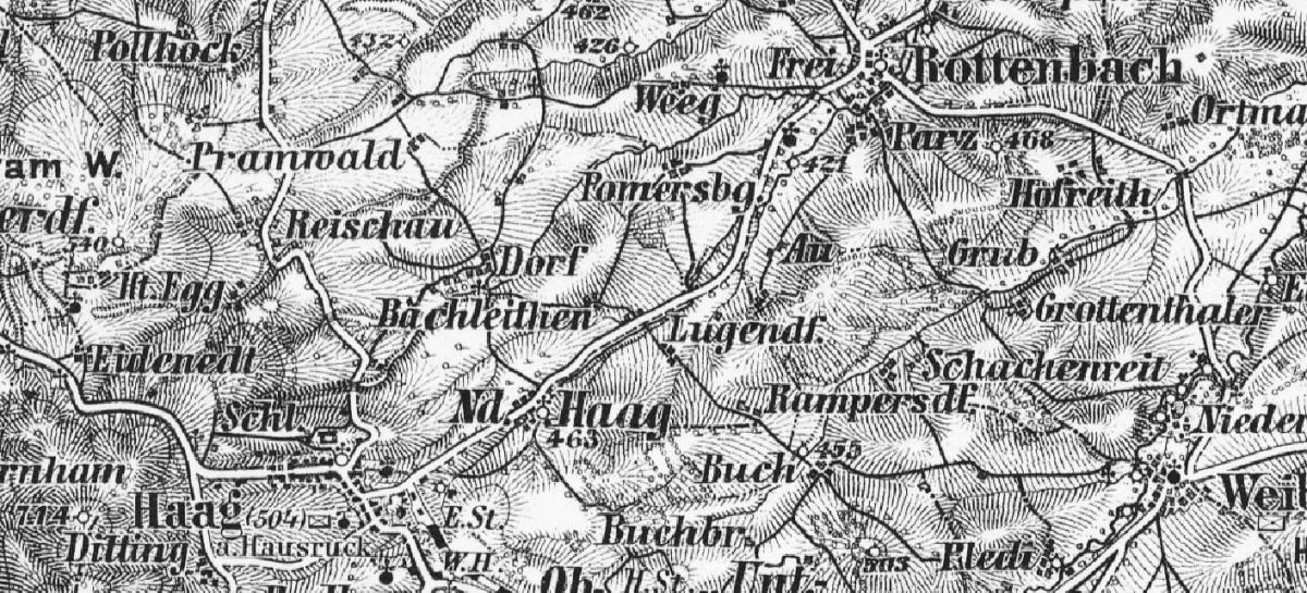 Map showing the town of Rottenbach