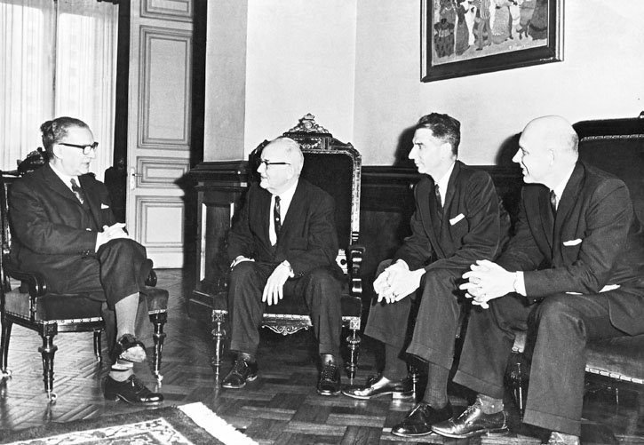 Left to right: Luis Giannattasio, president of Uruguay, meets with Elder Spencer W. Kimball, Thomas Fyans, and Elder Tuttle, May 24, 1964.