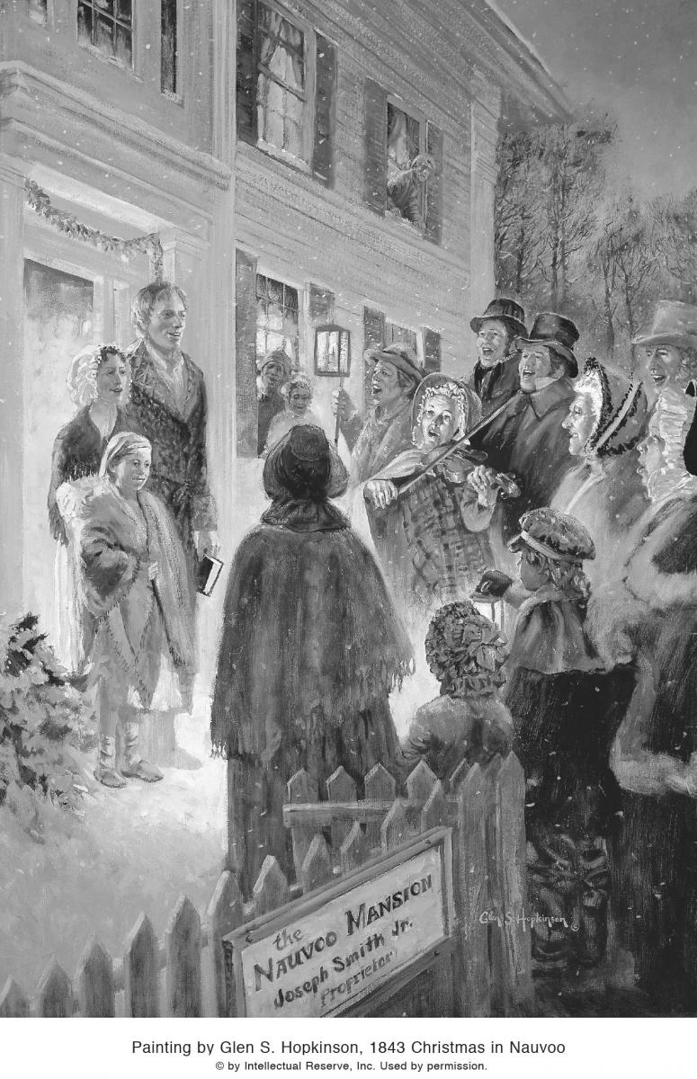 Joseph smith and family celebrating Christmas in Nauvoo with others