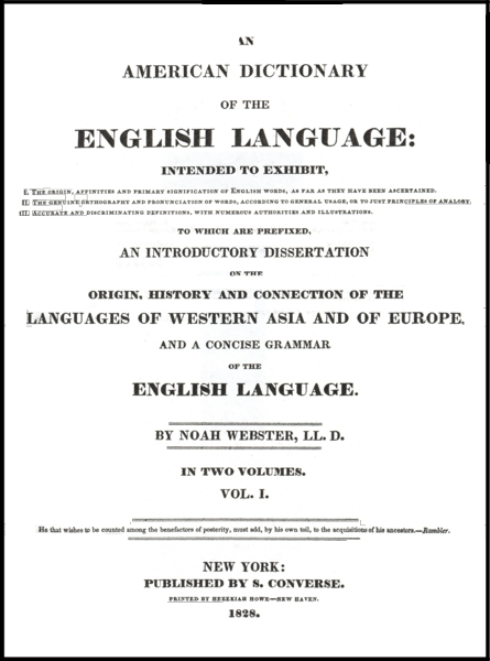 Cover page for the 1828 Dictionary